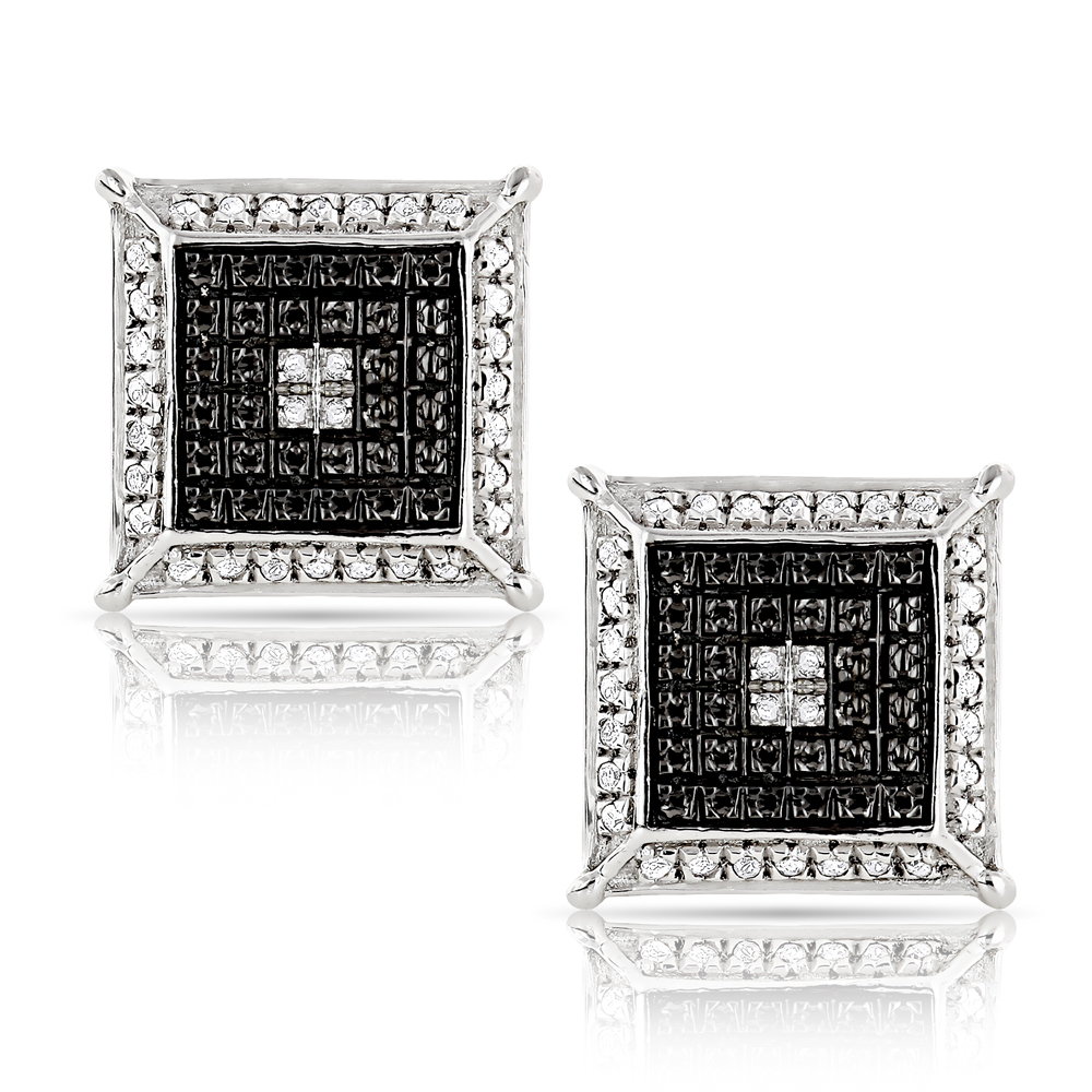 Unisex Diamond Stud Earrings 0.15ct White Gold Plated Sterling Silver White Image