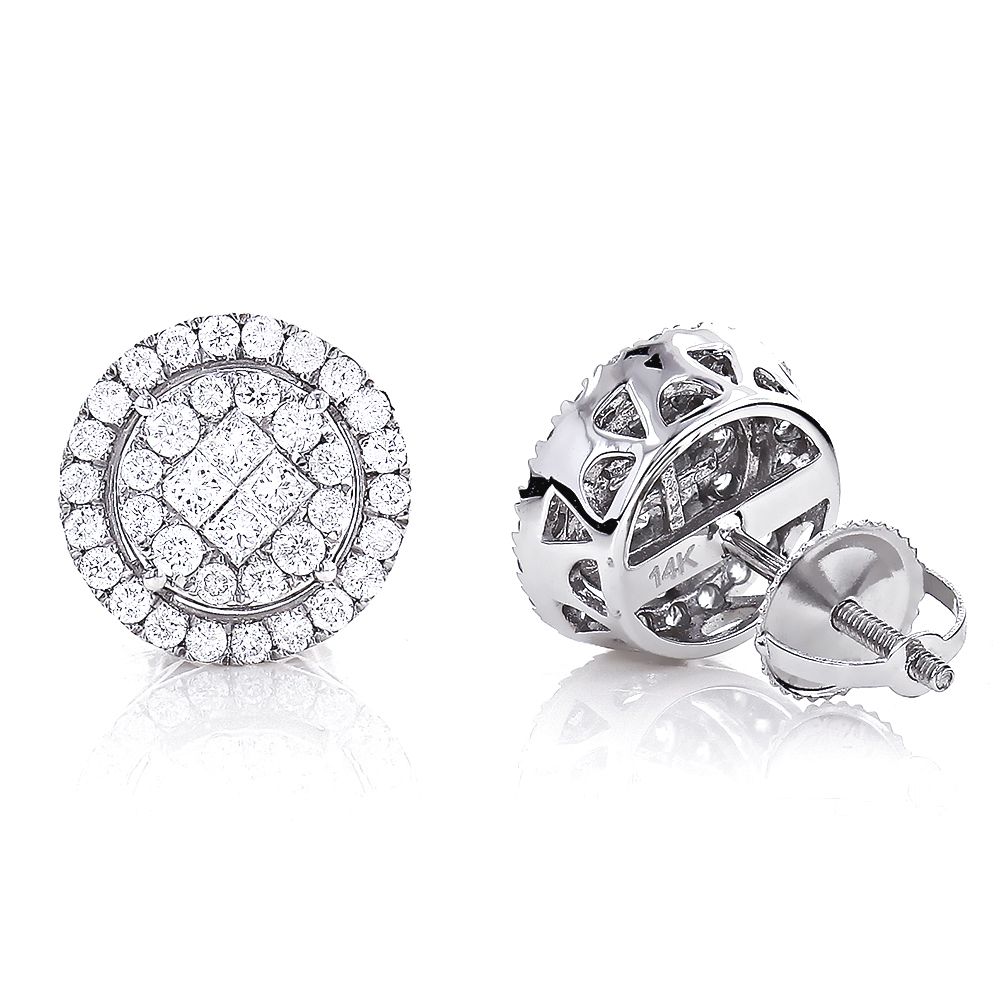 Unisex Diamond Stud Round Earrings 1.33ct 14K Gold Pave Clusters