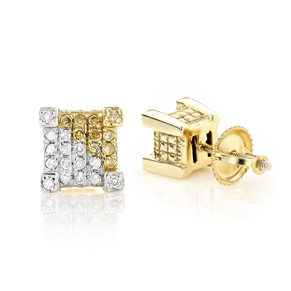 Unisex Gold Plated Silver White and Yellow Diamond Earrings Studs 0.35ct