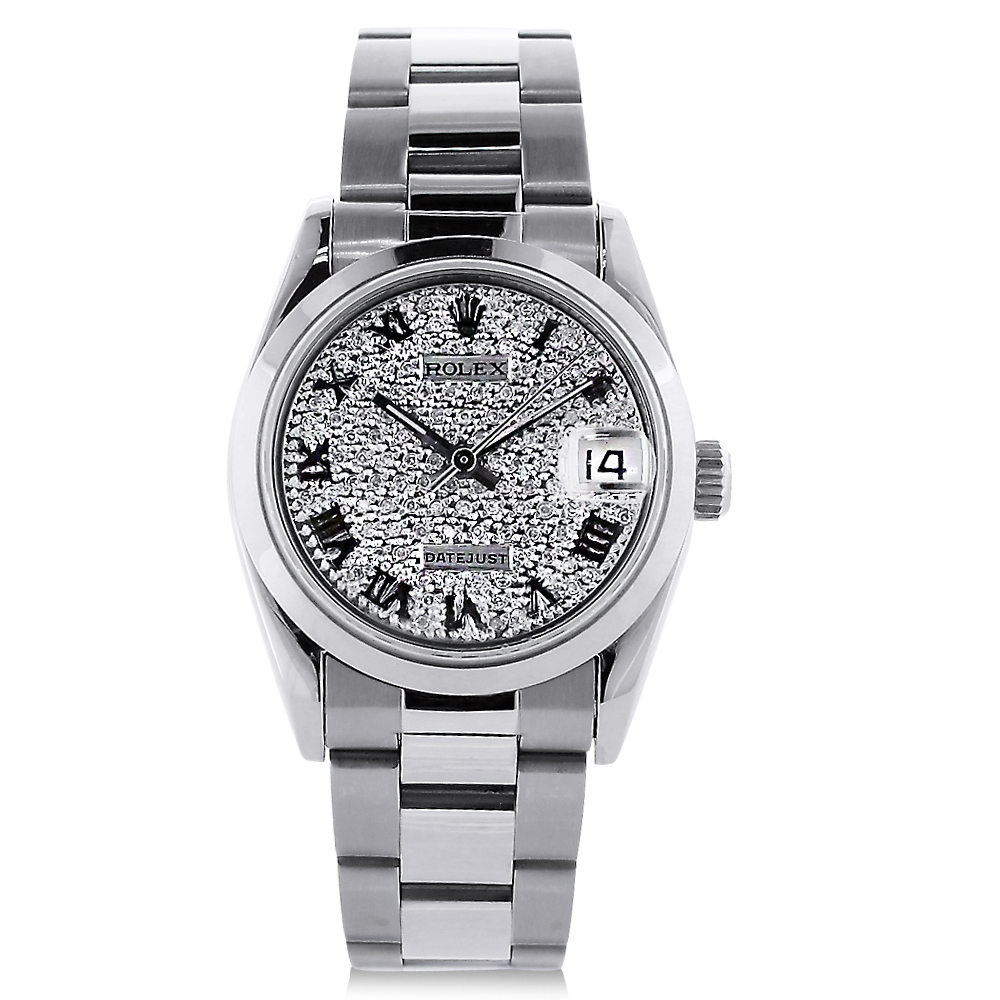 Unisex Rolex Oyster Perpetual Datejust Custom Diamond Watch 1.5ct