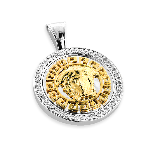 Versace Style Medusa Diamond Pendant in 14K Two Tone Gold 1ct Main Image