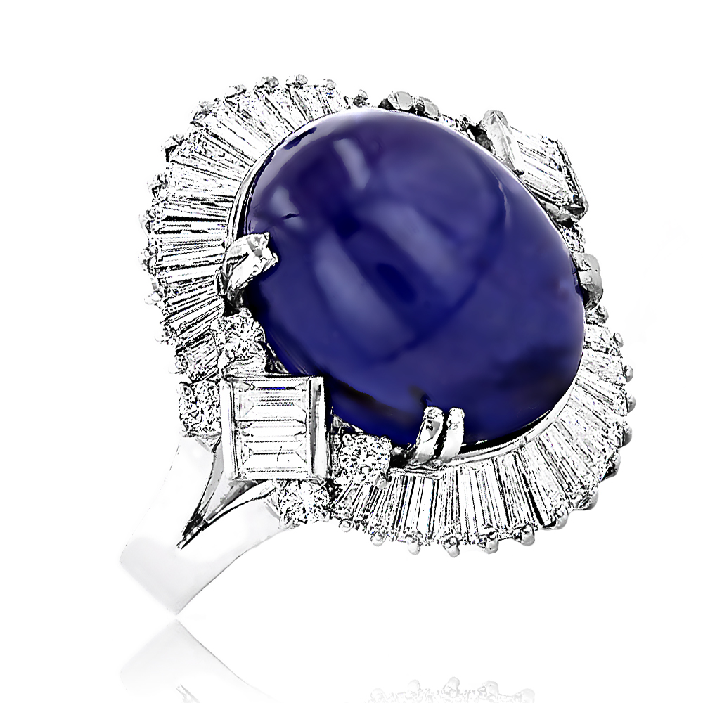 Vintage Estate Jewelry: Unique Women's Platinum Star Sapphire Diamond Ring