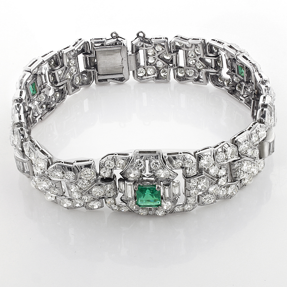 Vintage Fine Estate Jewelry: Platinum Diamond Bracelet for Women w Emeralds vintage-fine-estate-jewelry-platinum-diamond-bracelet-with-emeralds-175ct_1