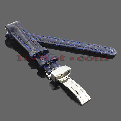 Watch Bands: Joe Rodeo Leather Watch Band 16mm Blue Watch Bands: Joe Rodeo Leather Watch Band 16mm Blue