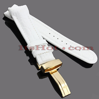 Watch Bands: Joe Rodeo Leather Watch Band 24mm White Main Image