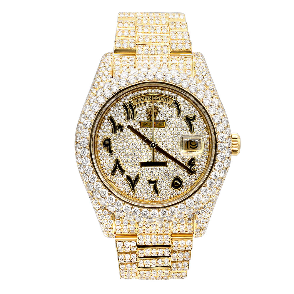 18k Gold Iced Out Rolex Day Date Arabic Dial Special Edition Diamond Watch Main Image