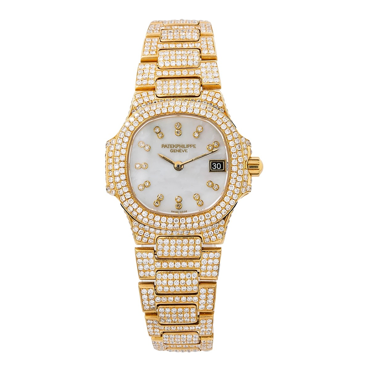 18k Yellow Gold Patek Philippe Diamond Watch for Women 27mm White Dial 11ct Main Image