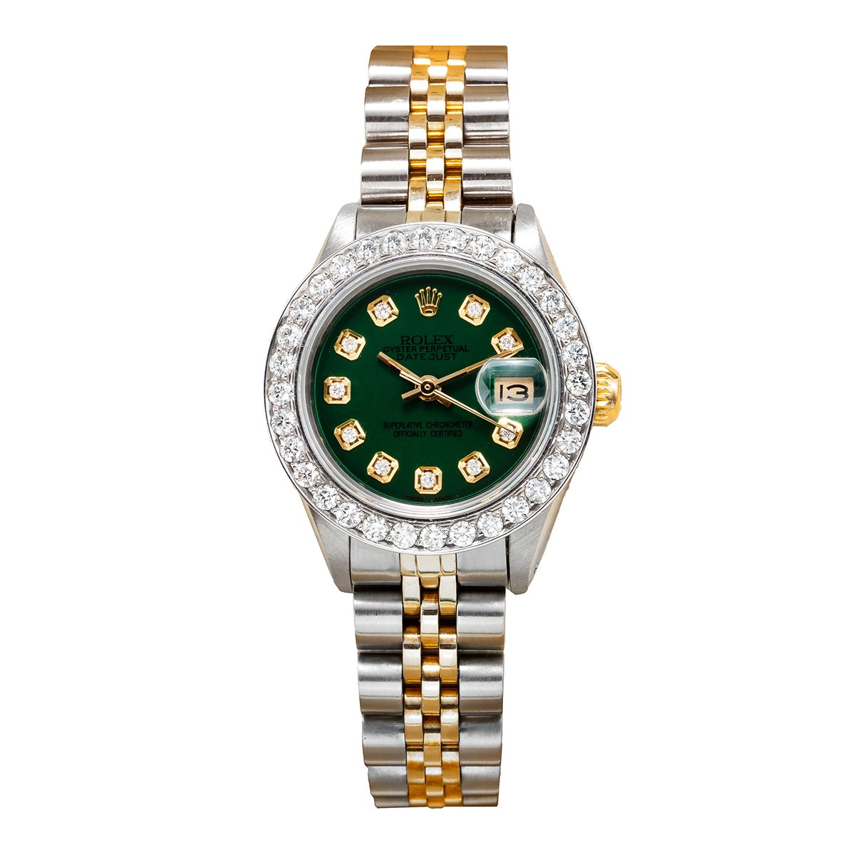 26mm 18k Gold Rolex Datejust Ladies Diamond Bezel Watch 179173 Green Dial Main Image