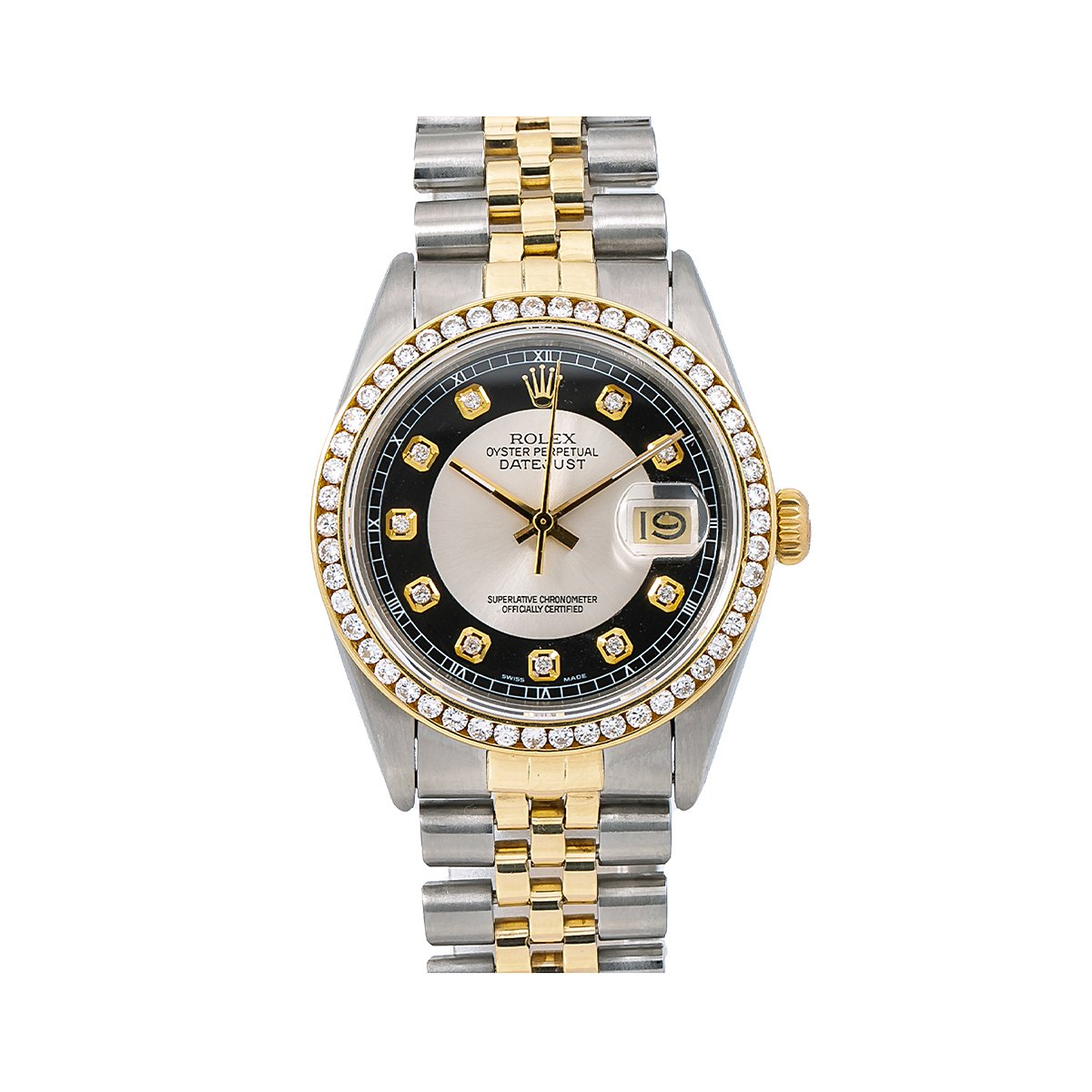 6dc1e5d2ae9 36mm Diamond Rolex DateJust Mens Watch Black 18k Gold Steel Jubilee  Bracelet Main Image