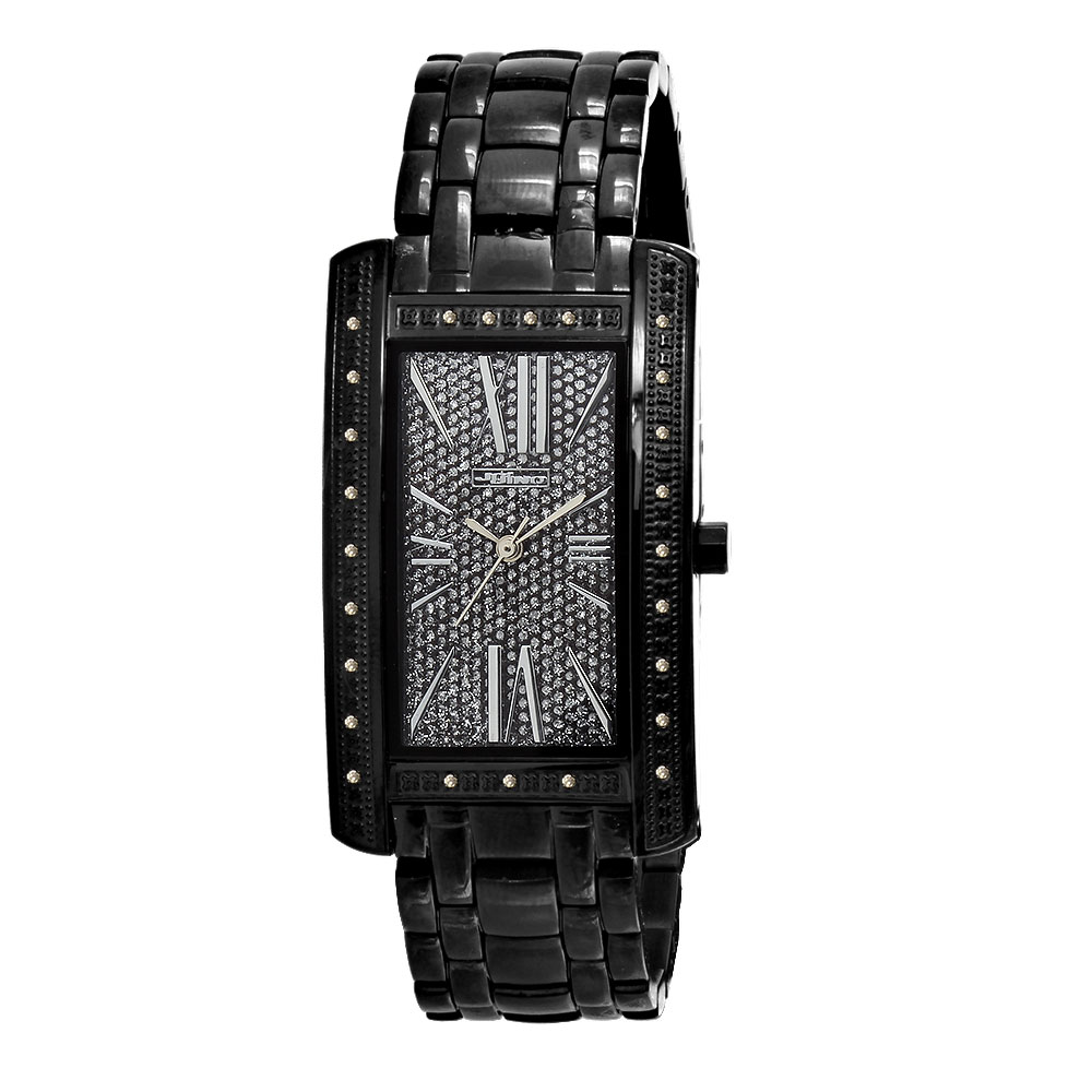 Black JoJino Womens Diamond Watch Rectangular Shape Iced Out Black Dial 0.25ct Main Image
