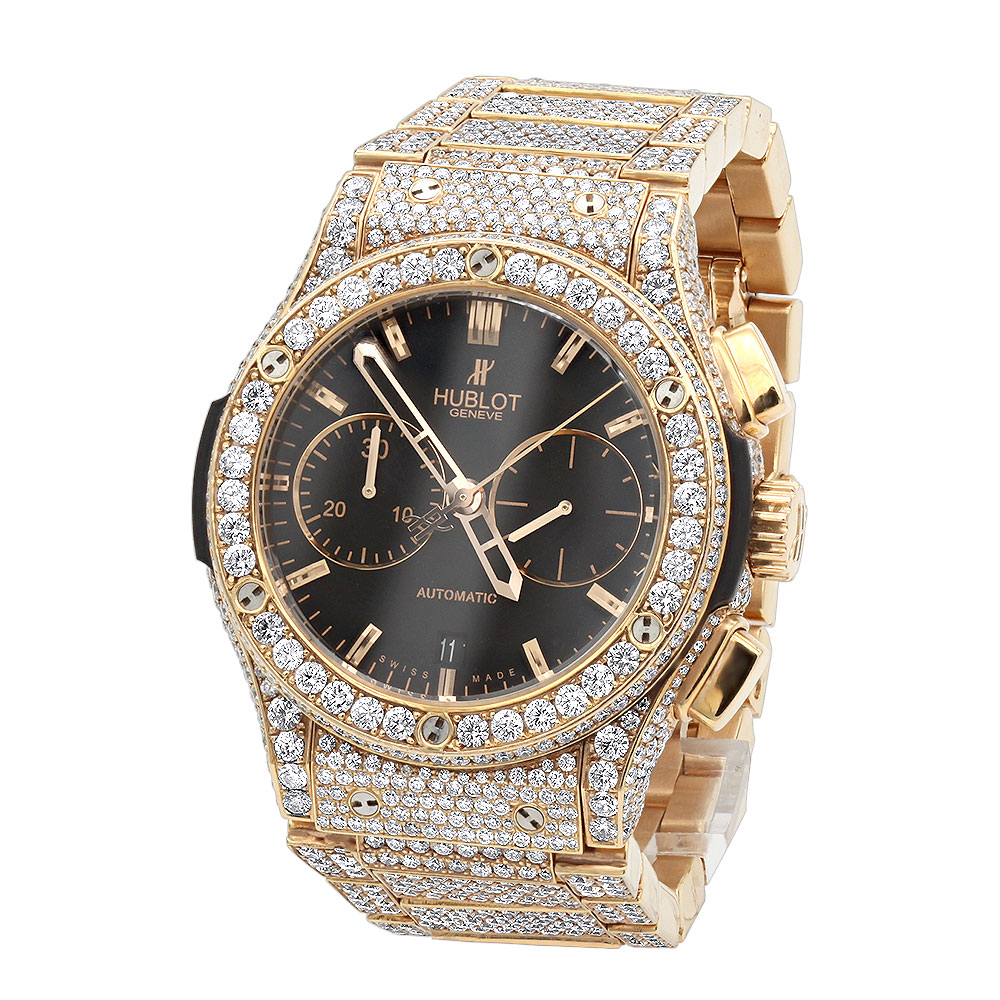 Bust down 18K Rose Gold Hublot Classic Fusion Chronograph Mens Diamond Watch Main Image
