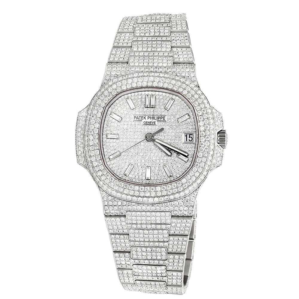 Custom Fully Iced Out Mens Diamond Patek Philippe Watch Stainless Steel 40mm Main Image