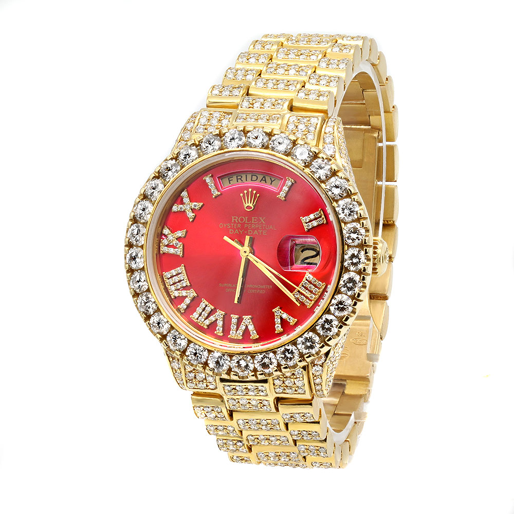 Fully Iced Out 18K Yellow Gold Presidential Rolex Diamond Watch 18ct 36mm Main Image