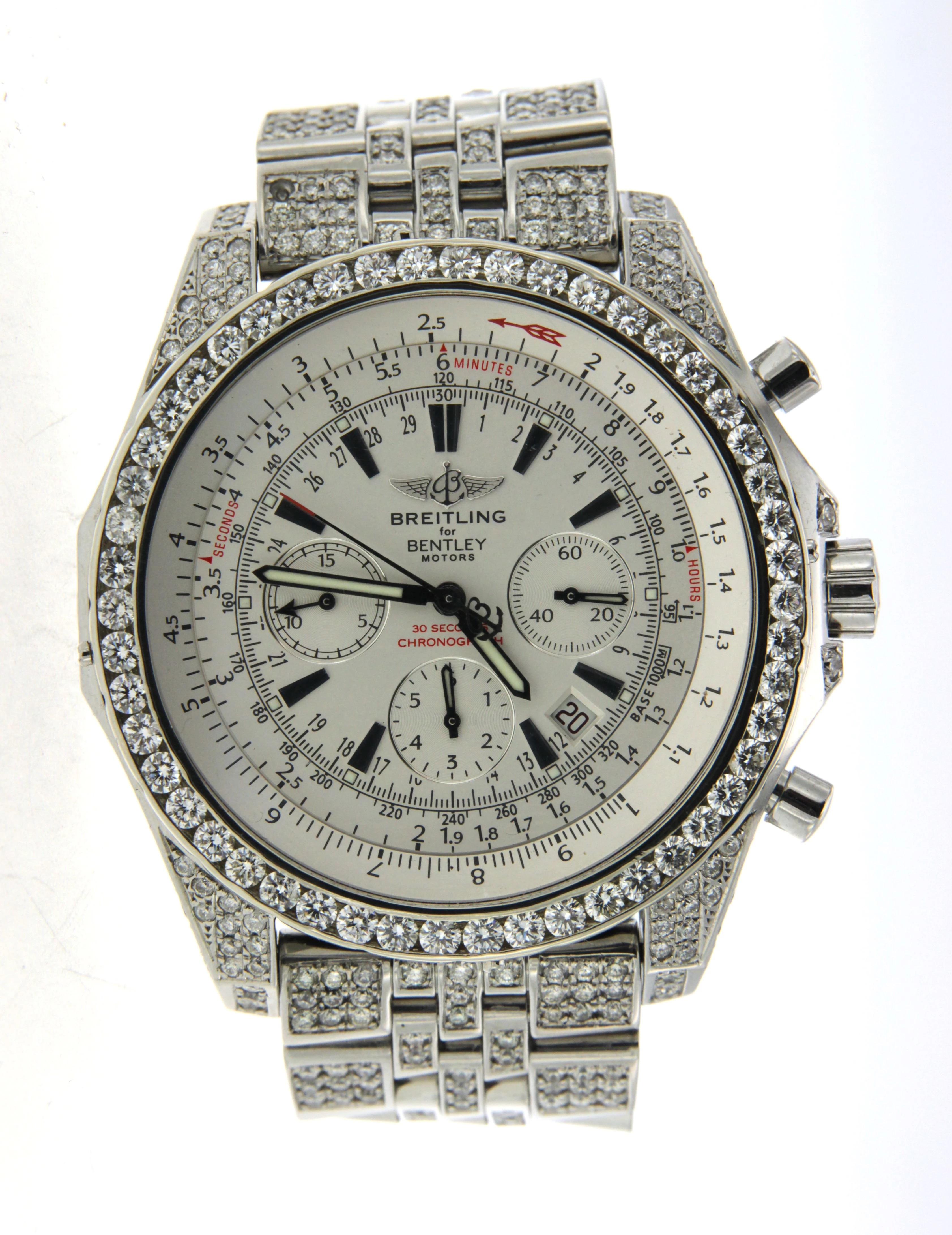 Fully Iced Out Real Diamond Breitling Bently Diamond Bezel, Case, Band 48mm Main Image