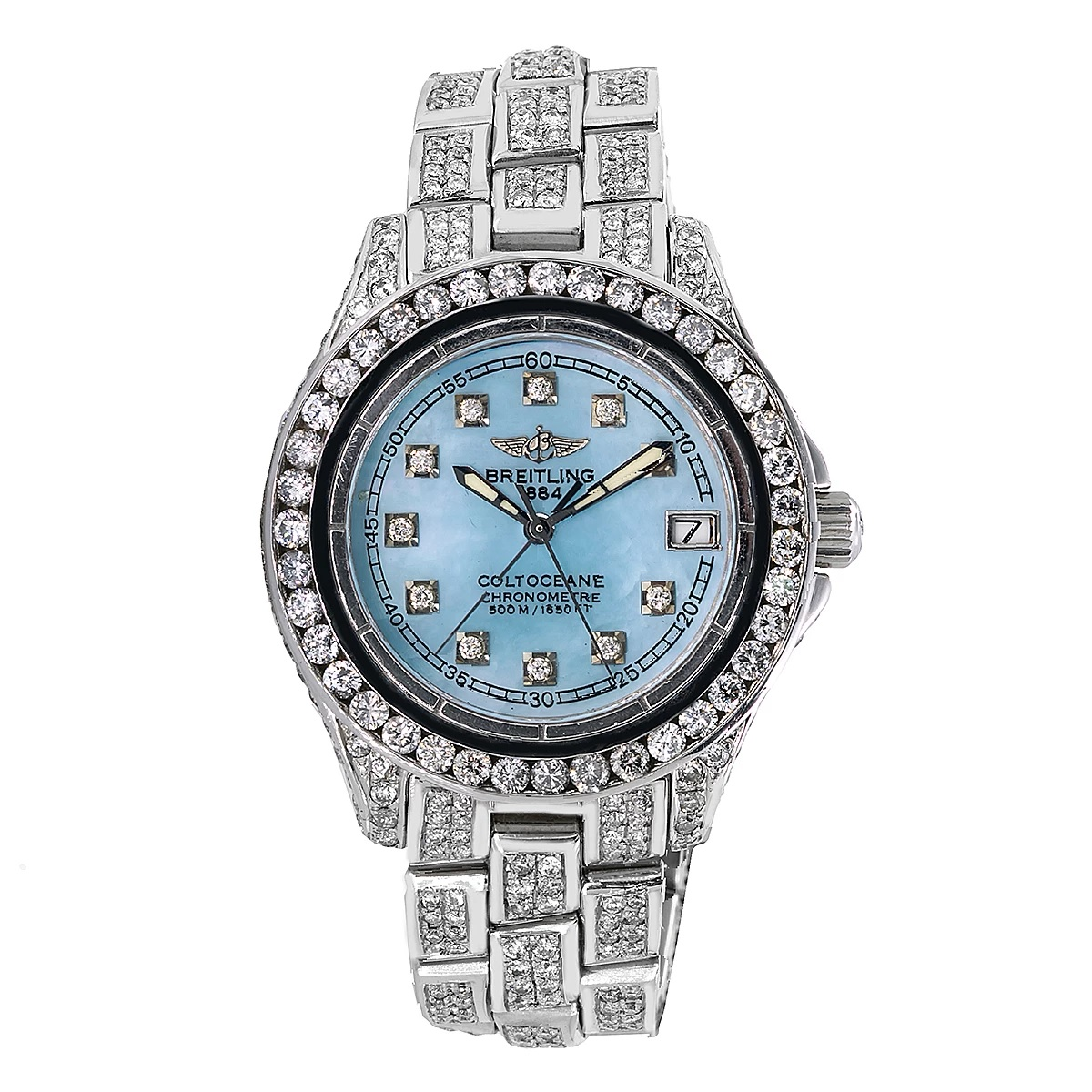 Iced Out 33mm Breitling Diamond Womens Watch A57350 Colt Oceane Blue MOP Dial 8ct Main Image