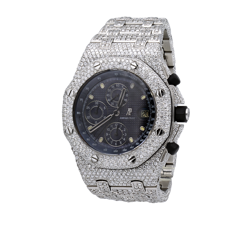 Iced Out Audemars Piguet Royal Oak Offshore Chronograph Mens Diamond Watch 42mm Main Image