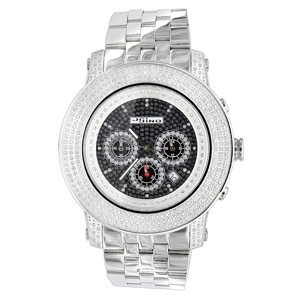 Iced Out Jojino 3 Carat Large Diamond Bezel Watch for Men Black Dial Main Image