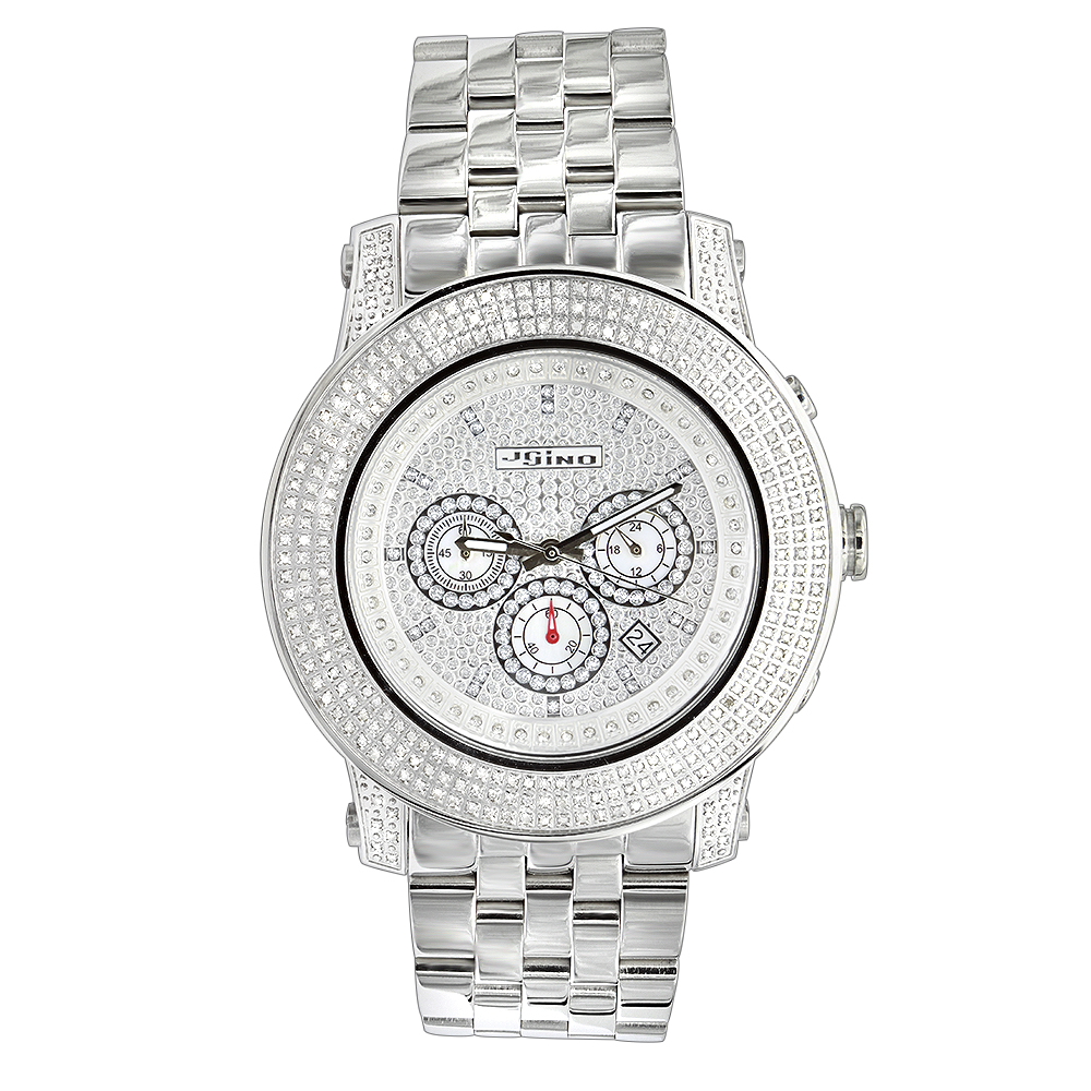 Iced Out Jojino 3 Carat Large Diamond Bezel Watch for Men White Dial