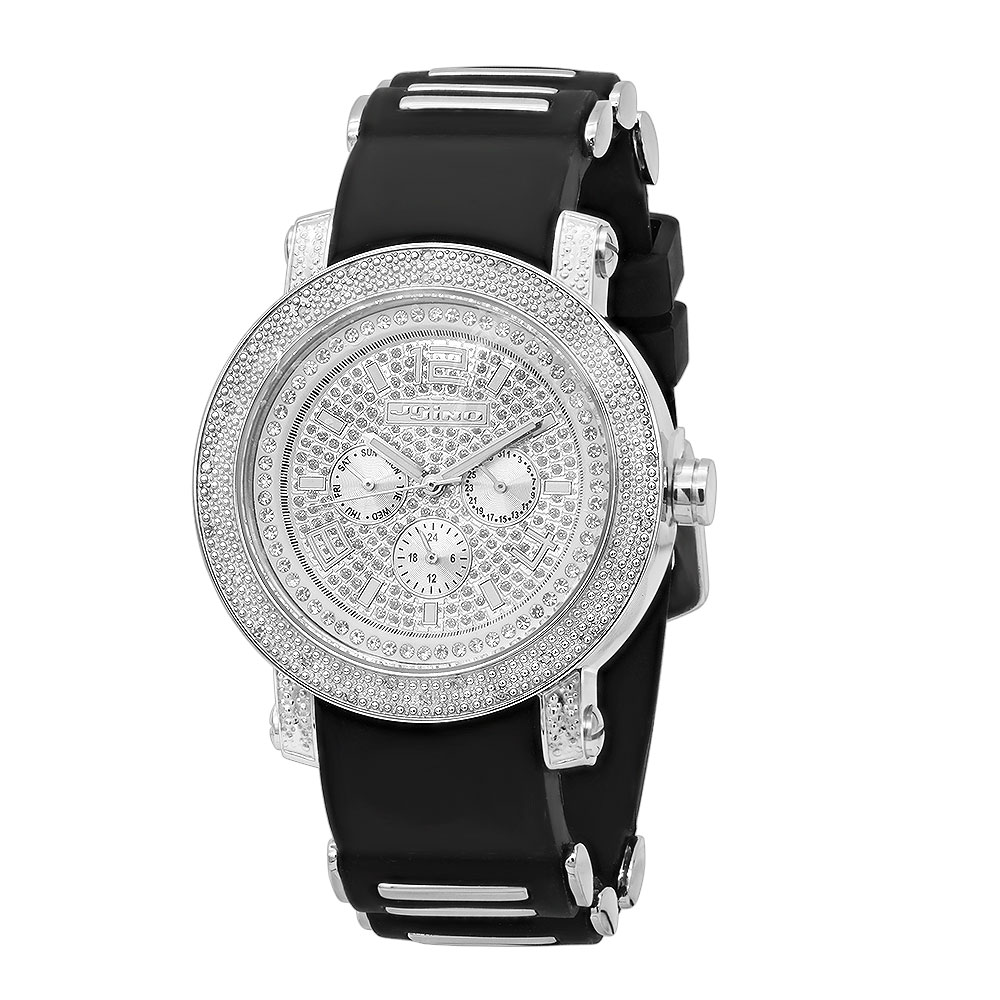 Iced Out Jojino Mens Real Diamond Watch w Black Rubber Band & Chronograph 0.25ct Main Image