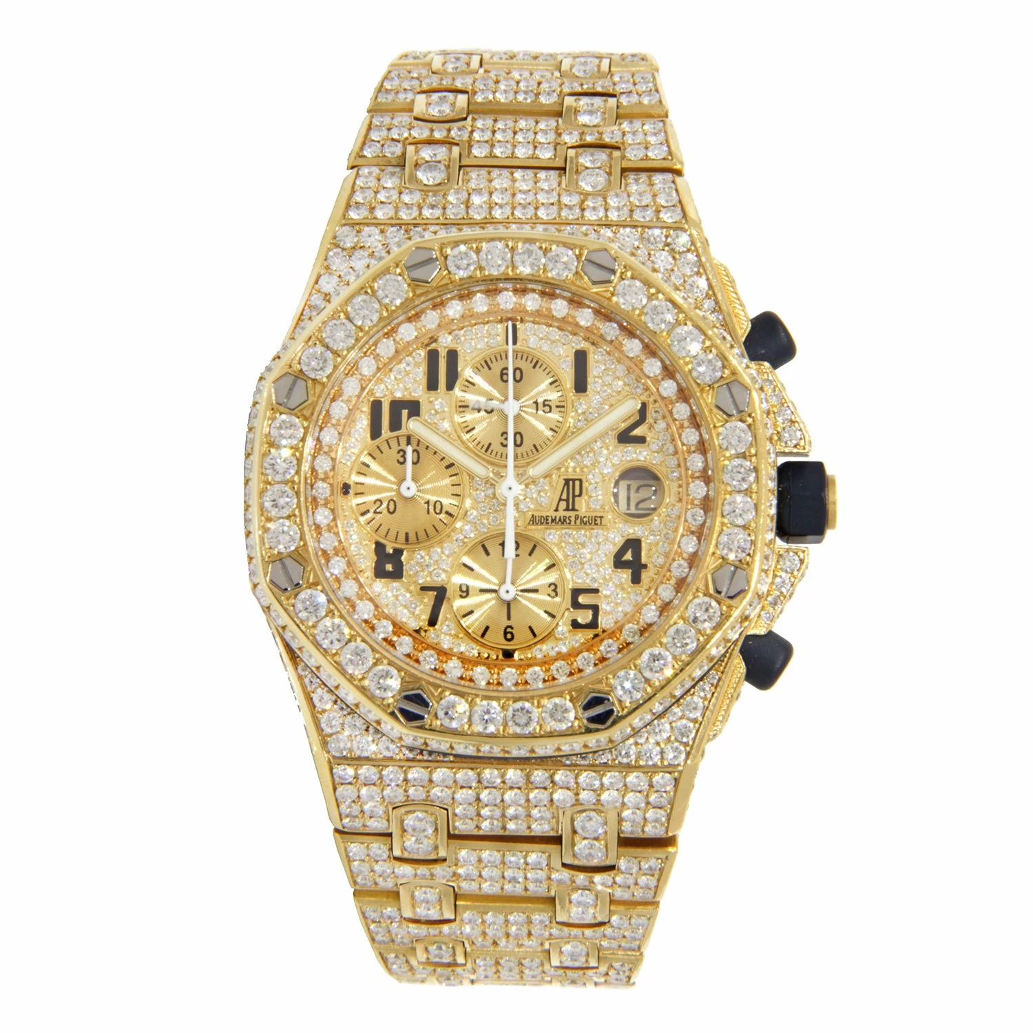 Iced Out Mens Diamond Watch Audemars Piguet Royal Oak Offshore Yellow Gold 42mm Main Image
