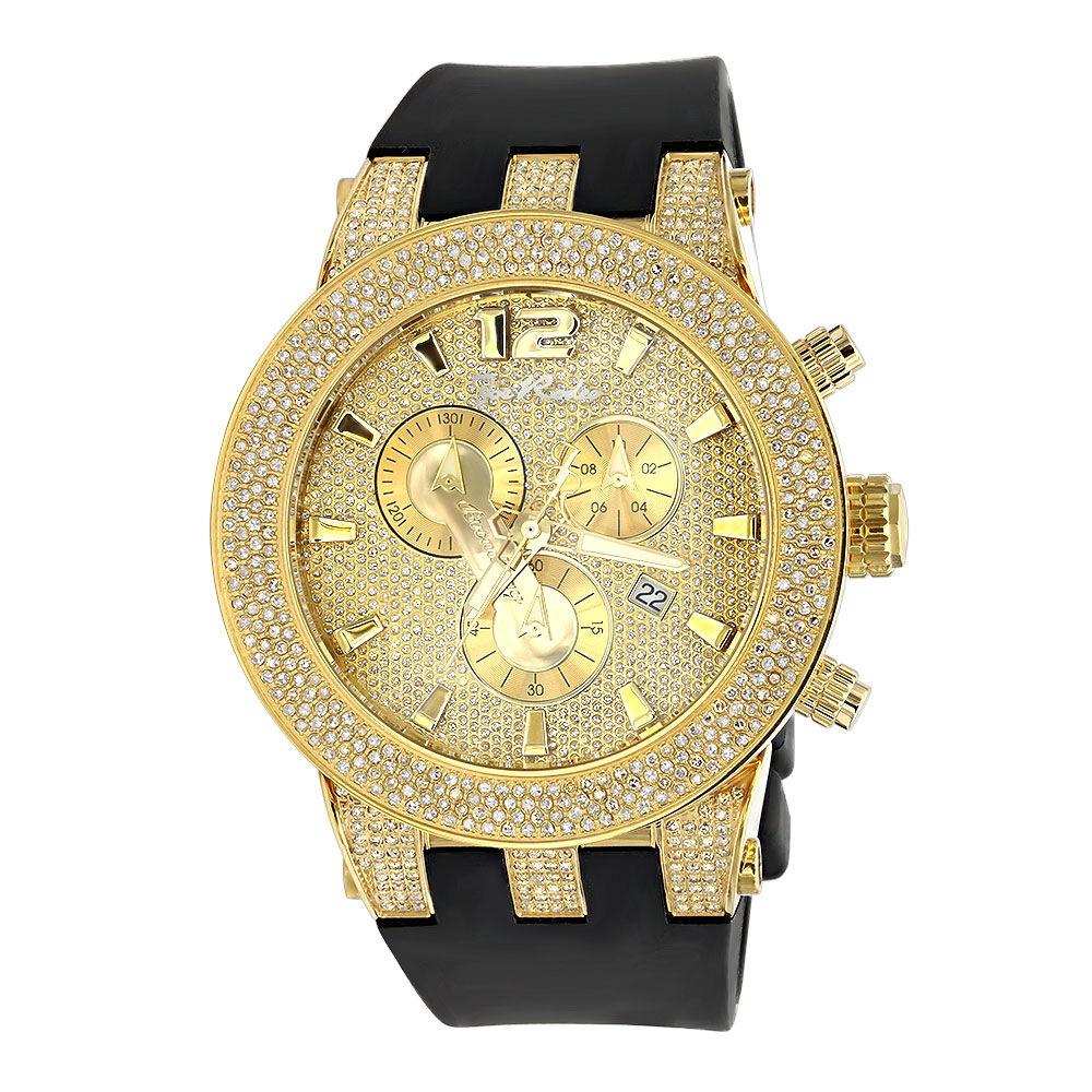 Iced Out Yellow Gold Pltd Joe Rodeo Broadway Mens Diamond Watch 5 Carats Main Image