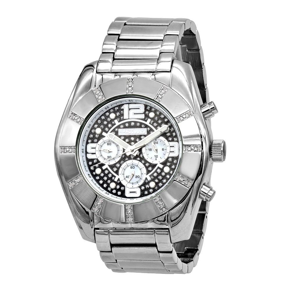 JoJino Chronograph Large Men's Diamond Watch 0.25ct Iced Out Black Dial Main Image
