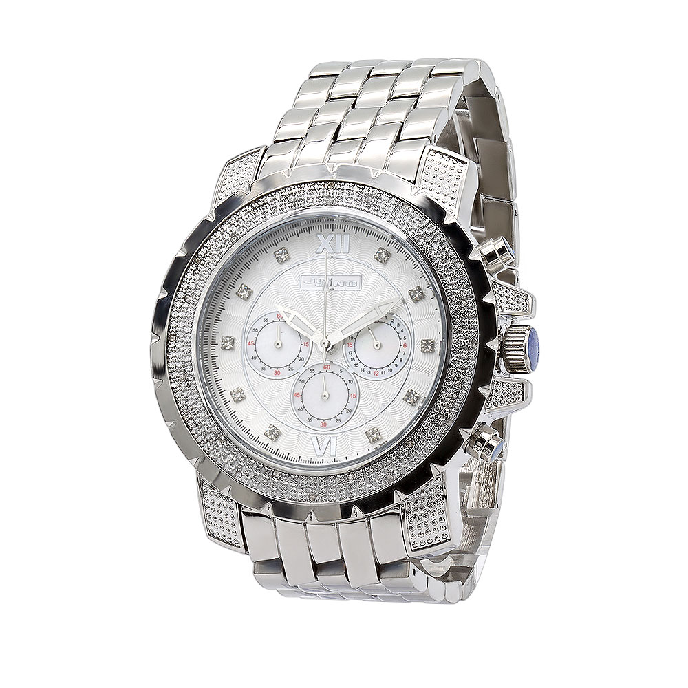 JoJino Chronograph Large Mens Diamond Watch 0.25ct Roman Numerals White Dial Main Image