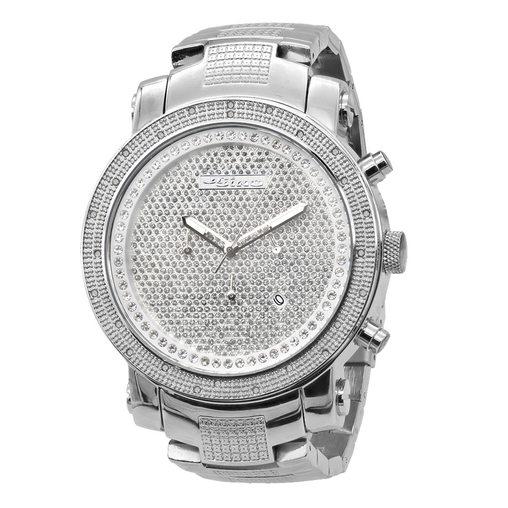 JoJino Chronograph Large Mens Diamond Watch 0.25ctw Iced Out Dial 3 Subdials Main Image