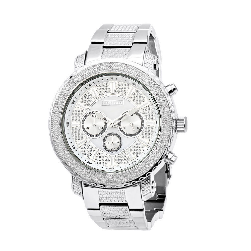 JoJino Chronograph Oversized Mens Diamond Watch 0.25ct Iced Out White MOP Dial Main Image