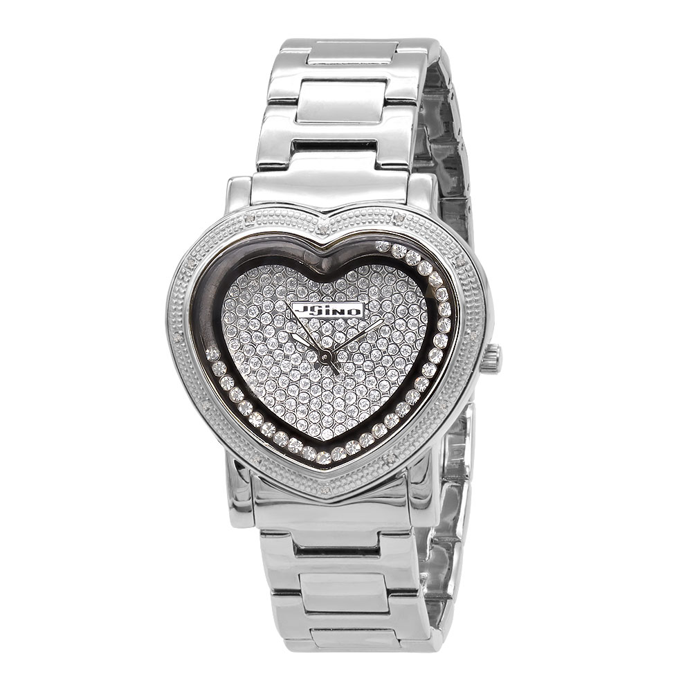 JoJino Diamond Heart Watch for Women Floating Stones Iced Out Dial 0.12ct Main Image