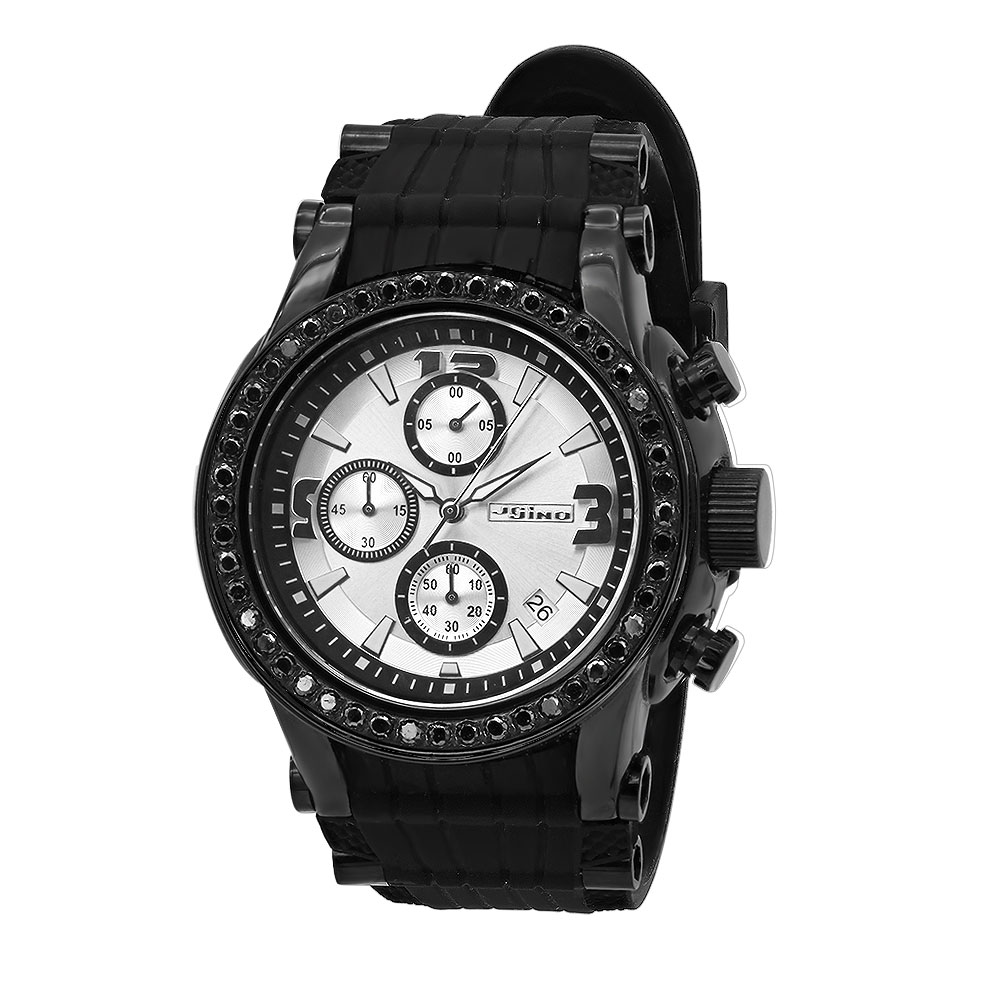 JoJino Large Mens Black Diamond Watch 2ct Silver Dial Chronograph Calendar Rubber Band Main Image