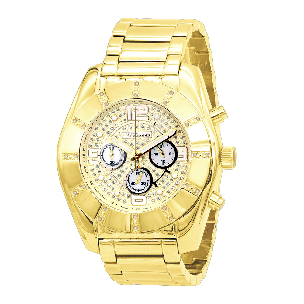 JoJino Large Men's Diamond Watch 0.25ct Iced Out Yellow Dial Chronograph Main Image