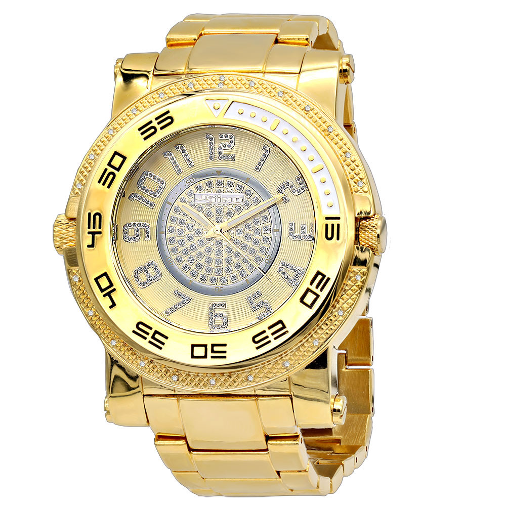 JoJino Large Men's Diamond Watch 0.25ctw Iced Out Yellow Dial w Chronograph Main Image