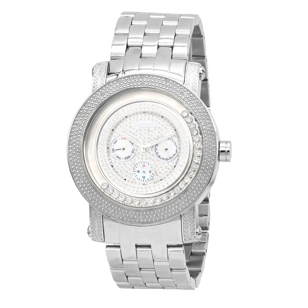 JoJino Mens Diamond Watch Iced Out White Dial w Subdials & Floating Stones Main Image