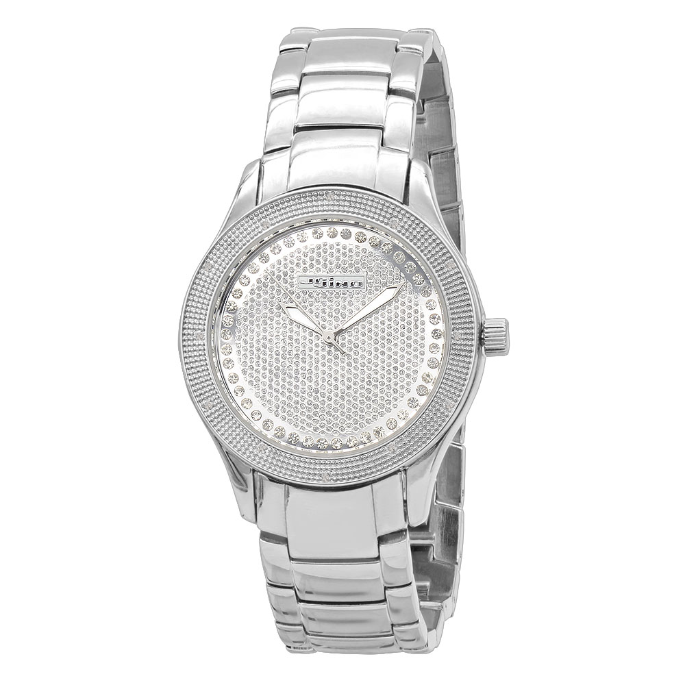 JoJino Real Diamond Watch for Women 0.12ctw Iced Out Silver Dial Metal Band Main Image