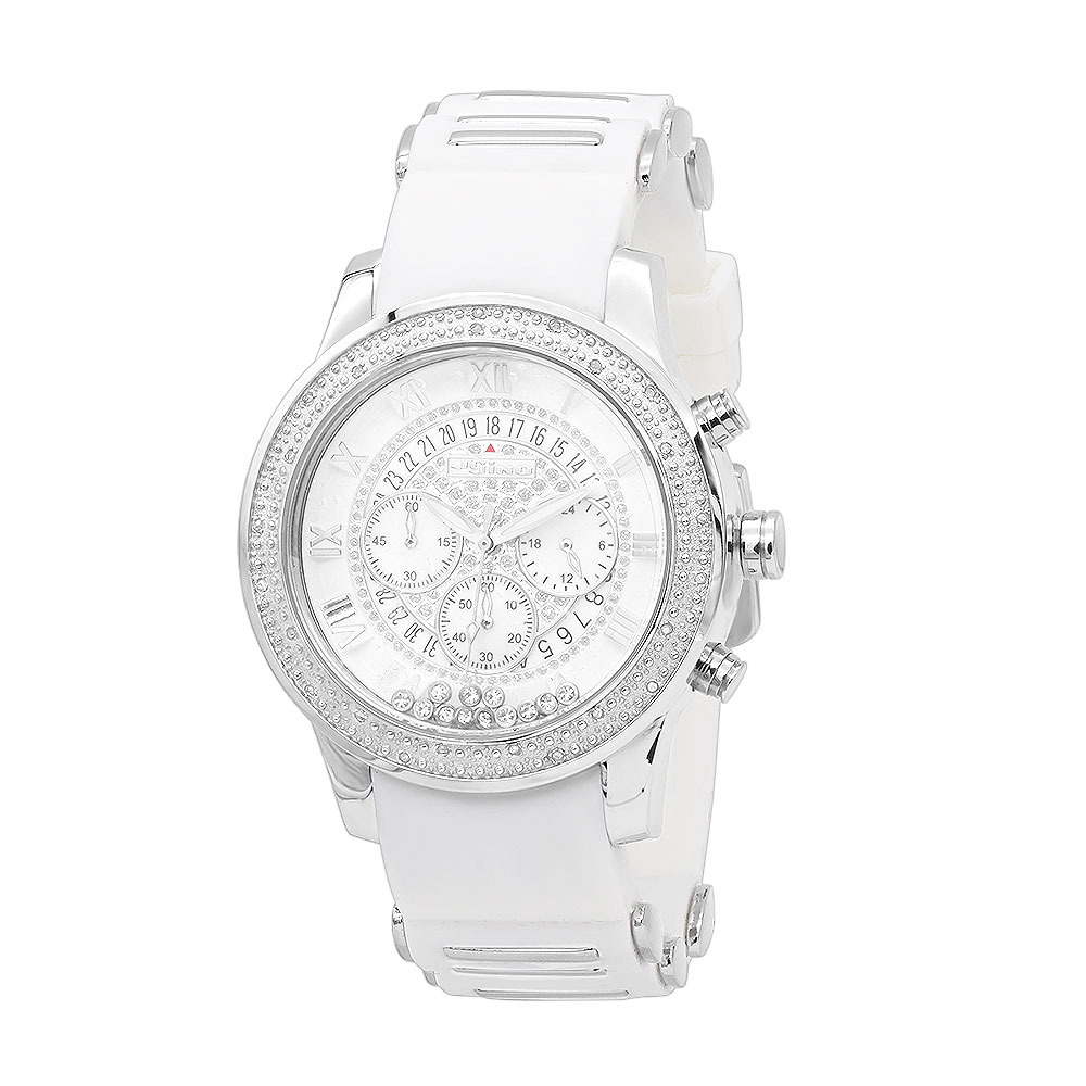 White Jojino Mens Diamond Watch Floating Stones Rubber Band Chronograph 0.25ct Main Image