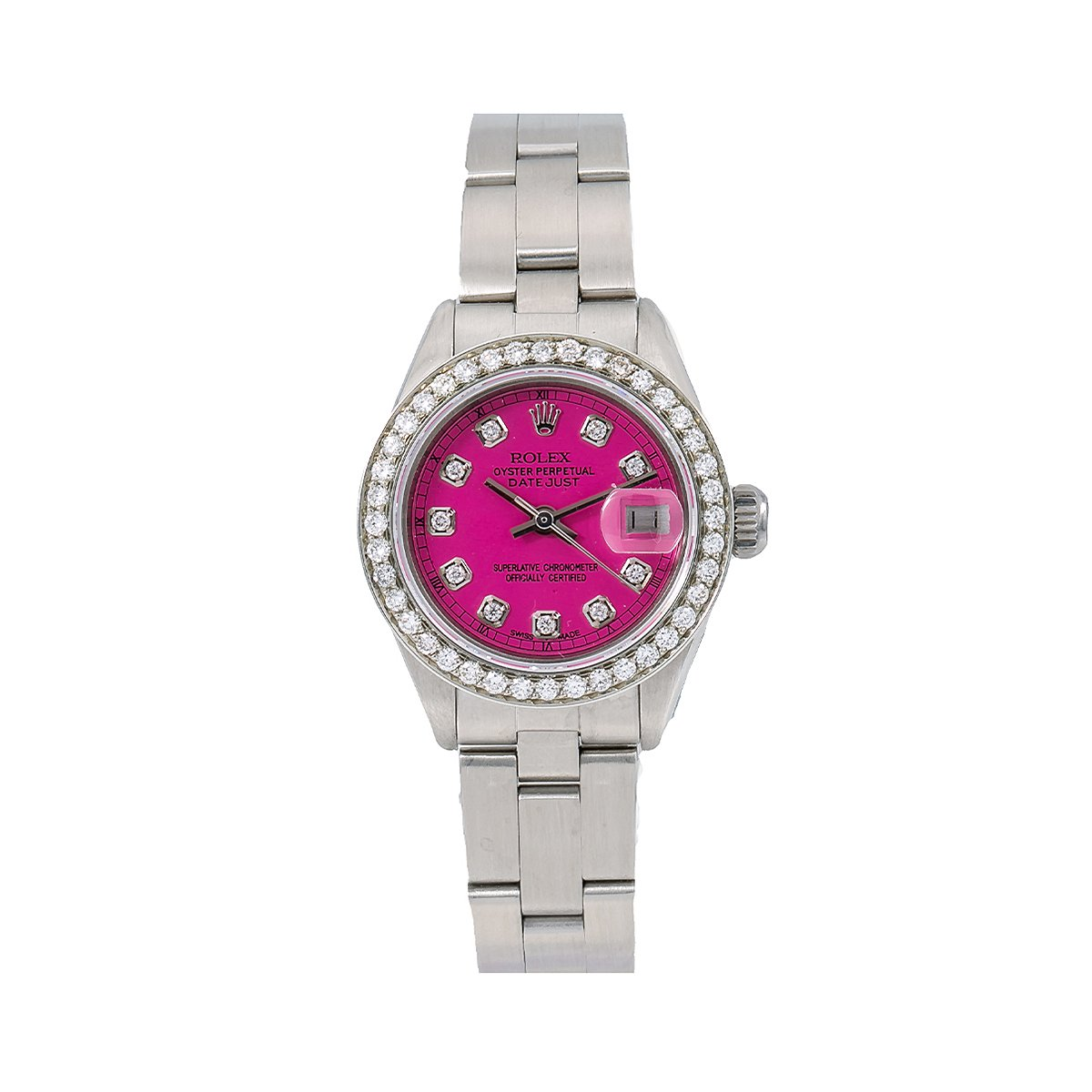 Ladies 26mm Rolex Oyster Perpetual Datejust Purple Diamond Dial and Bezel Watch 6916 Main Image