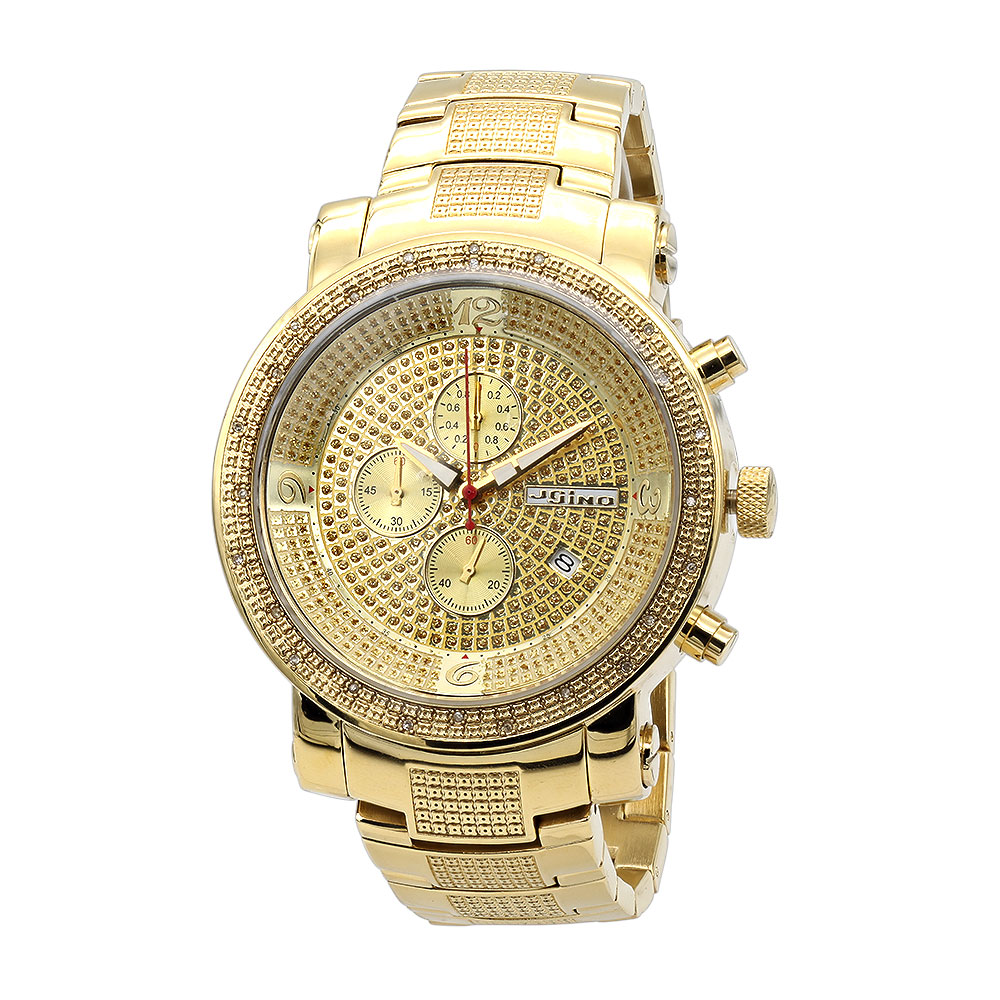 Large JoJino Mens Diamond Watch Yellow Gold Pltd w Chronograph Subdials 0.12ct Main Image