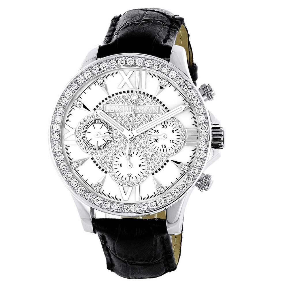 Mens Genuine Diamond Watch Luxurman Liberty Swiss MVT Leather Band White MOP Main Image