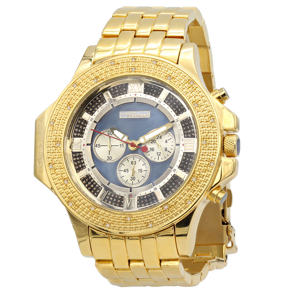 JoJino Large Mens Diamond Watch Yellow Gold Pltd 0.25ct Blue MOP Dial Chronograph Main Image