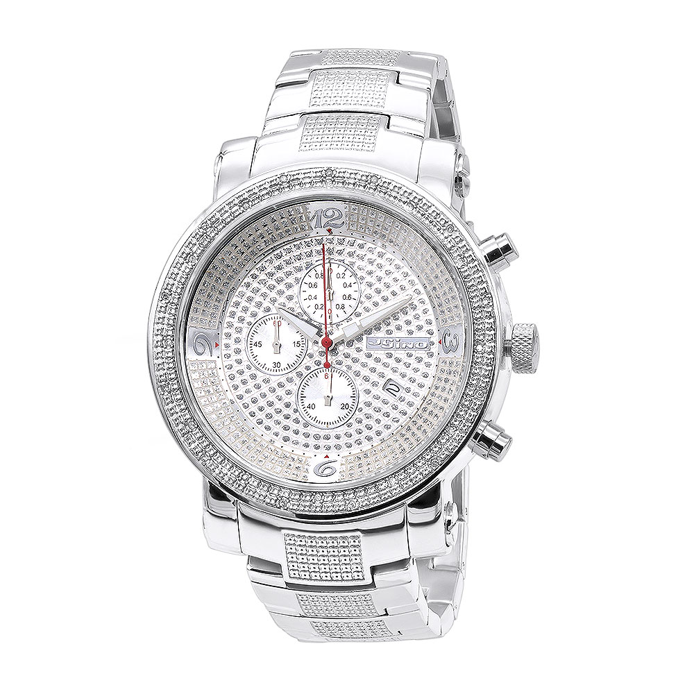 Oversized JoJino Diamond Watch for Men with Chronograph 0.12ct Iced Out Silver Dial Main Image