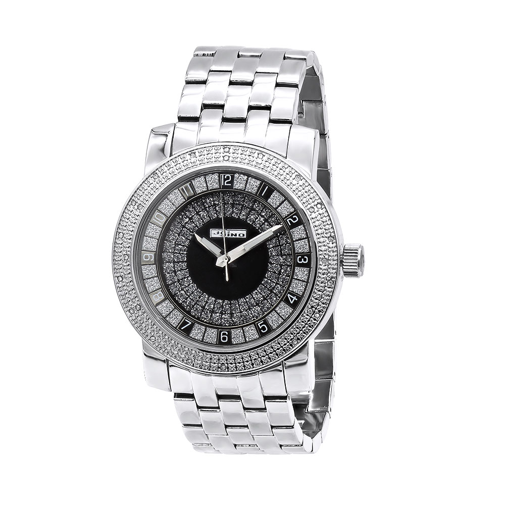 Oversized JoJino Genuine Diamond Watch for Men Black Dial 0.25ct Metal Band Main Image