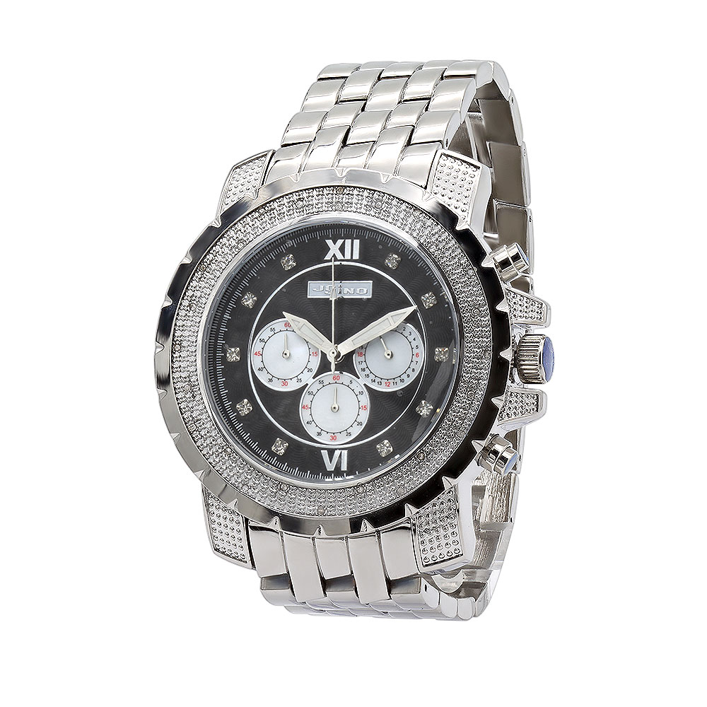 Oversized JoJino Mens Diamond Watch 0.25ct Roman Numerals Black Dial with Subdials Main Image