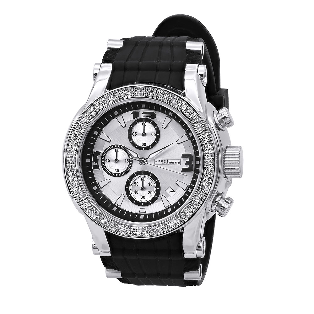 Oversized JoJino Real Dimond Watch for Men w Chronograph Silver Dial & Date 0.25ct Main Image