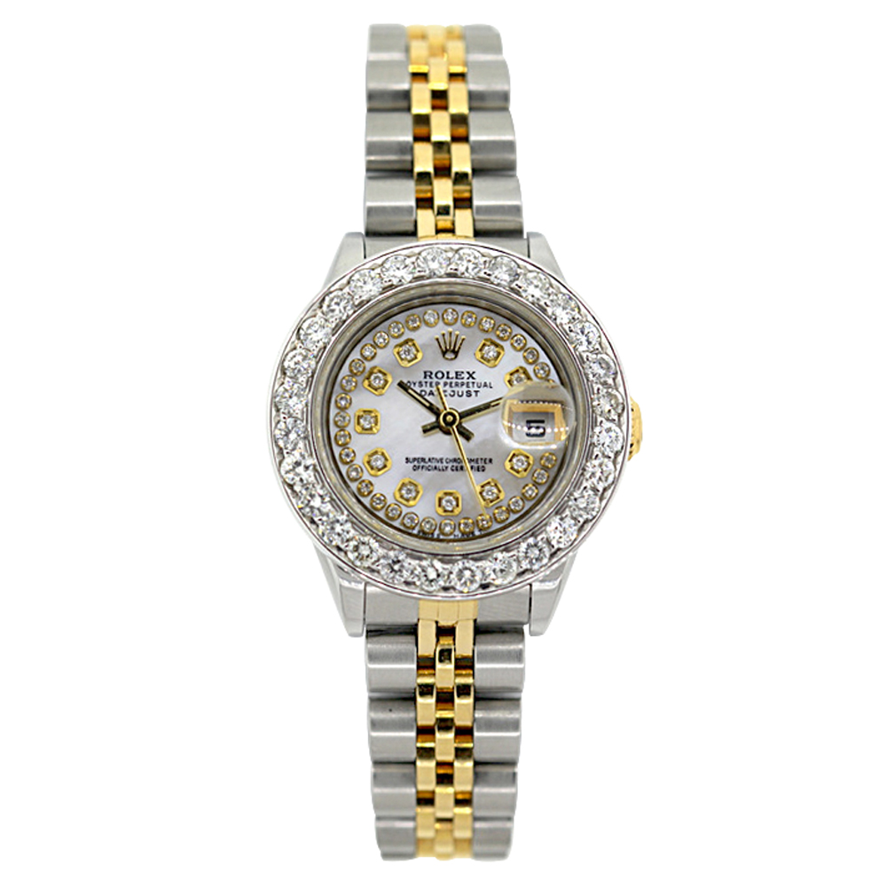 Rolex Datejust Diamond Watch for Women 2ct Diamond Bezel & White Dial 18k Gold Main Image