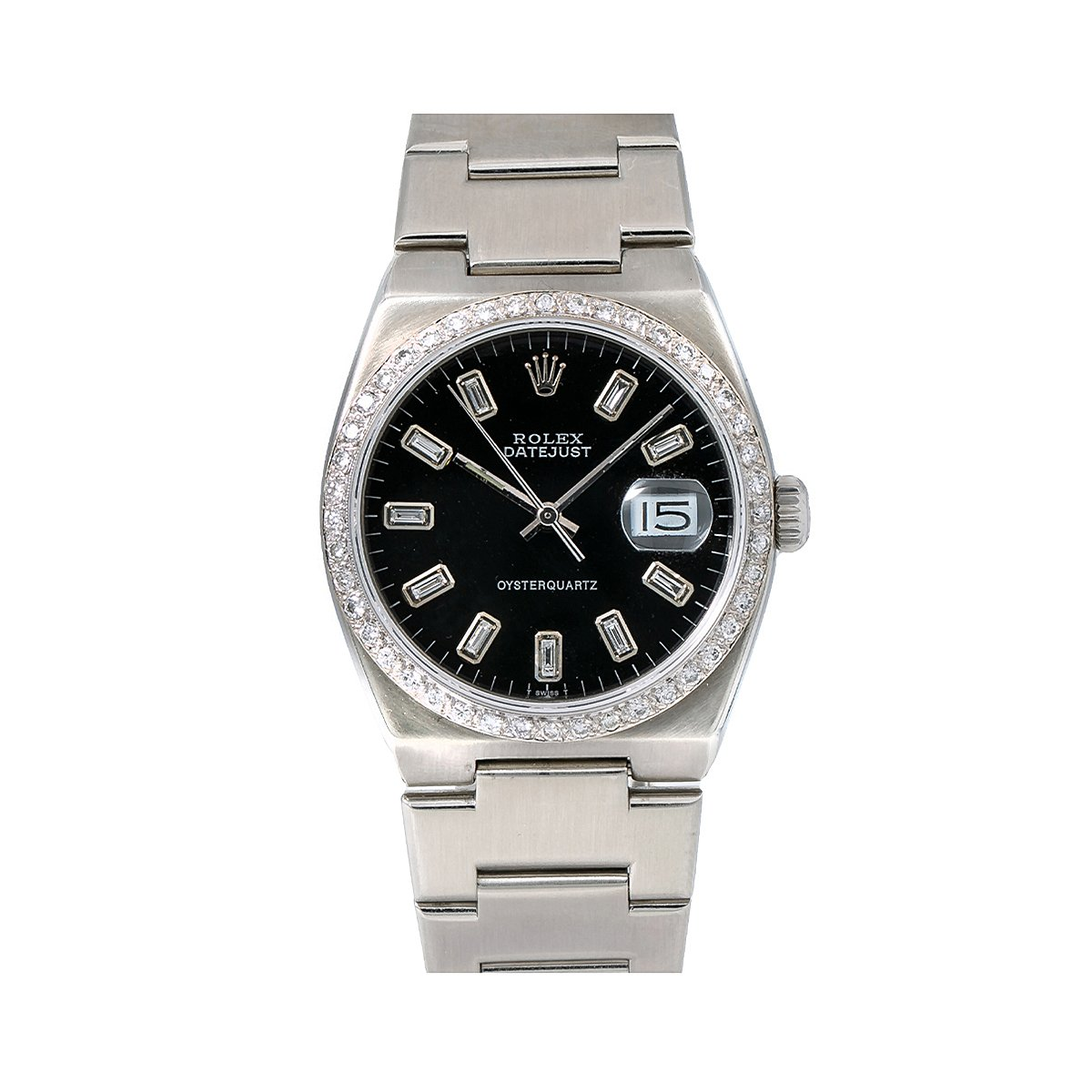 Rolex Datejust Mens Diamond Watch 17000 36mm Black Dial Oyster Bracelet 1.25Ct Main Image