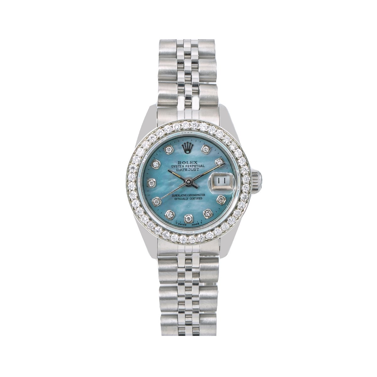 Rolex Oyster Perpetual Lady Datejust Diamond Bezel Watch 26mm Blue Dial 0.9ct Main Image