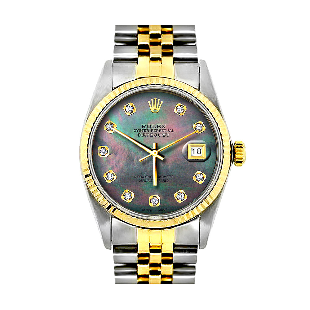 Two Tone Mens Diamond Rolex Watch 36mm Datejust Stainless Steel 18K Gold Jubilee Bracelet Main Image