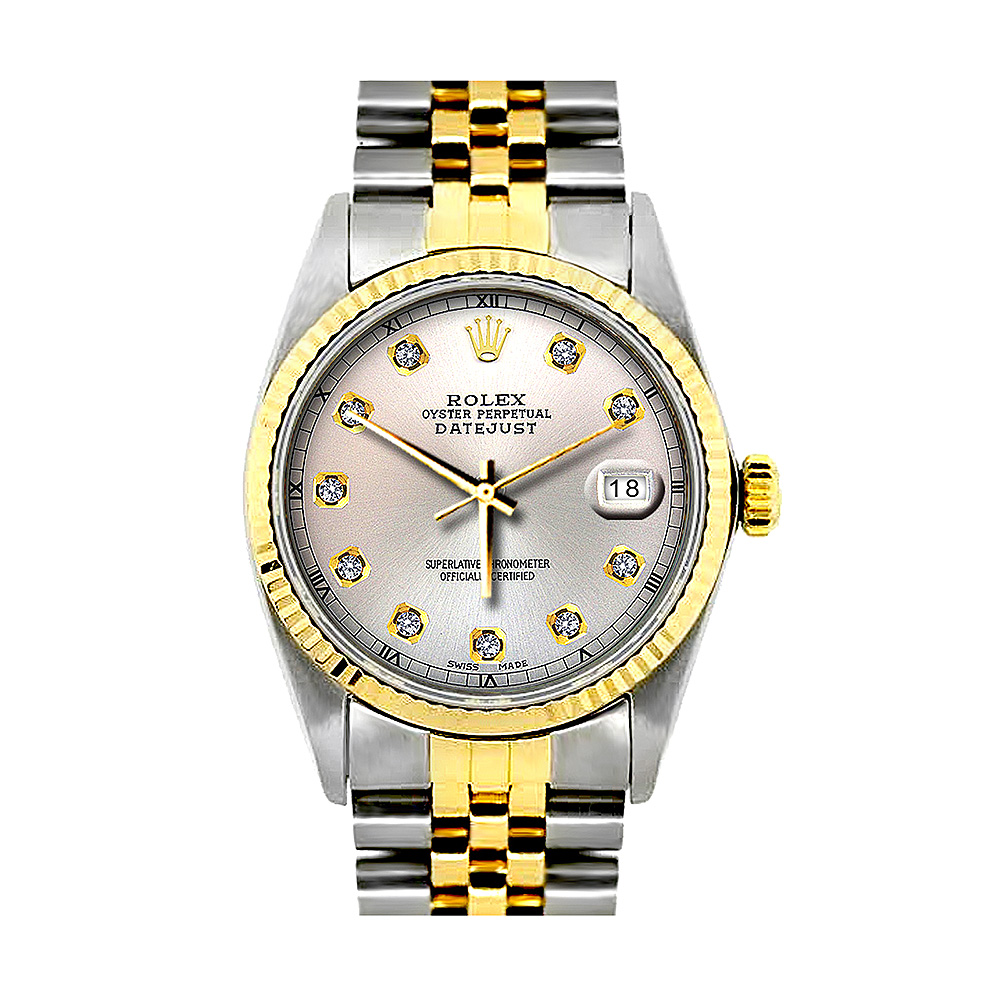 Two Tone Rolex Datejust Mens Diamond Watch Stainless Steel 18K Yellow Gold Main Image