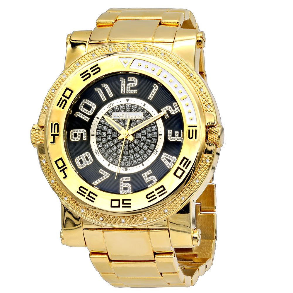 Unique Jojino Diamond Watch For Men Yellow Gold Pltd w Iced Out Black Dial Main Image